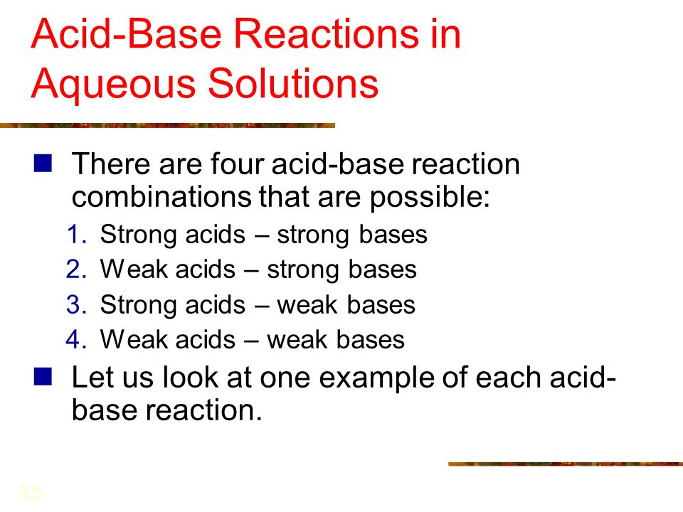 CHAPTER 10 Reactions in Aqueous Solutions I: Acids, Bases ...