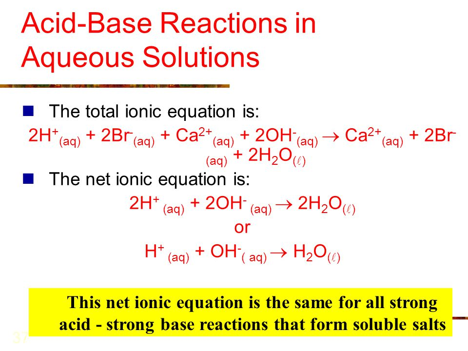 CHAPTER 10 Reactions in Aqueous Solutions I: Acids, Bases & Salts ...
