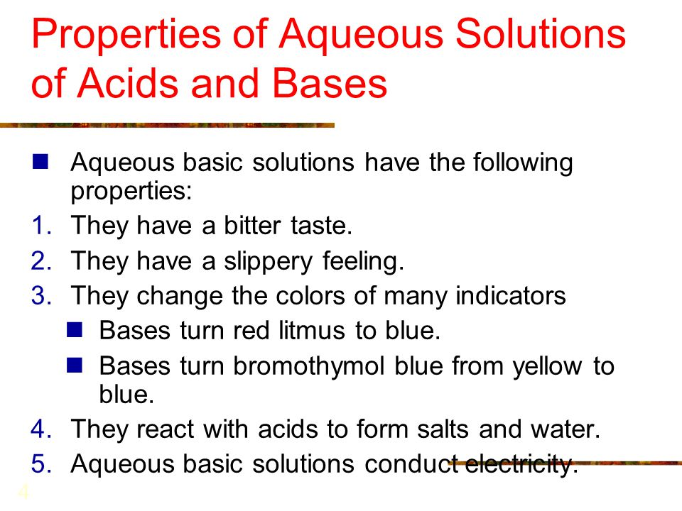 Properties of Aqueous Solutions of Acids and Bases