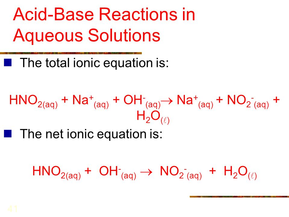 Acid-Base Reactions in Aqueous Solutions