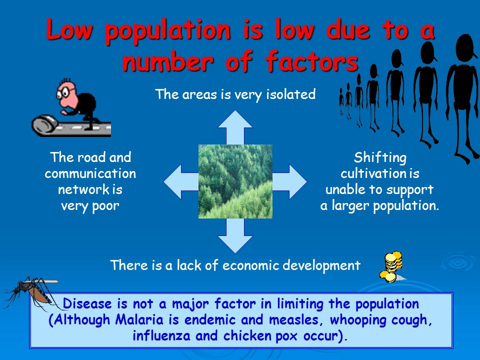 Low population is low due to a number of factors