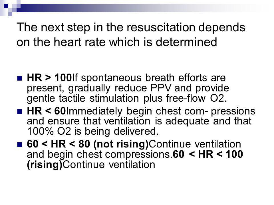 The next step in the resuscitation depends on the heart rate which is determined