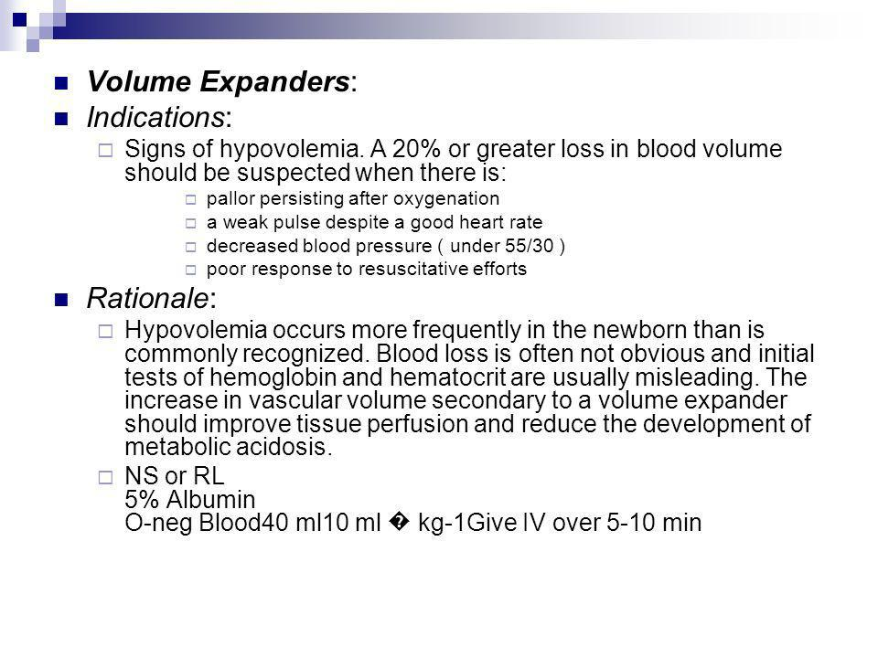 Volume Expanders: Indications: Rationale: