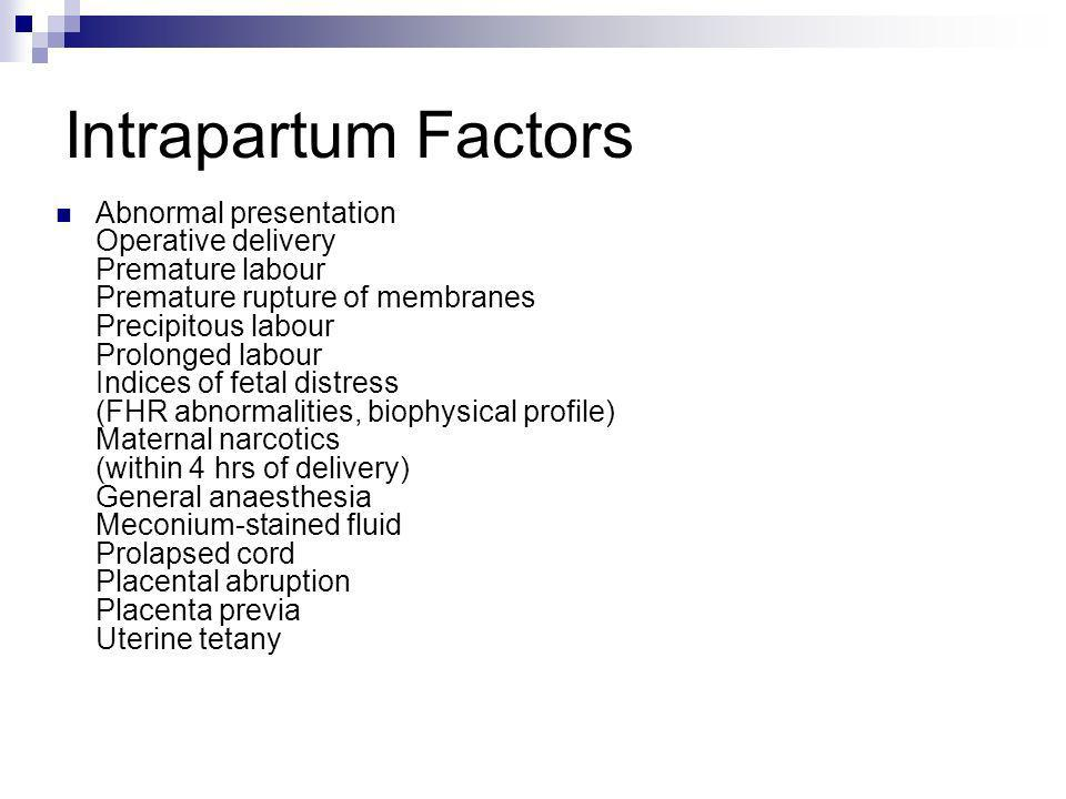Intrapartum Factors