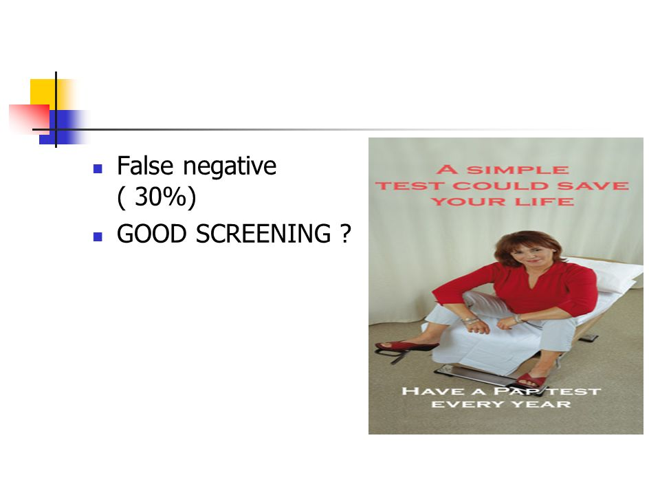 False negative ( 30%) GOOD SCREENING