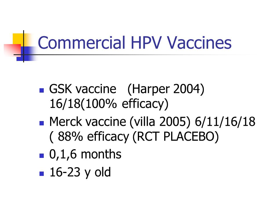 Commercial HPV Vaccines