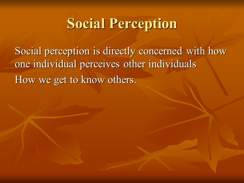 Social Perception Social perception is directly concerned with how one individual perceives other individuals.