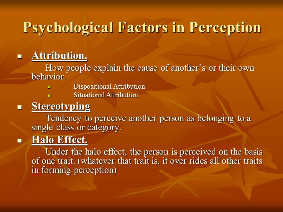 Psychological Factors in Perception