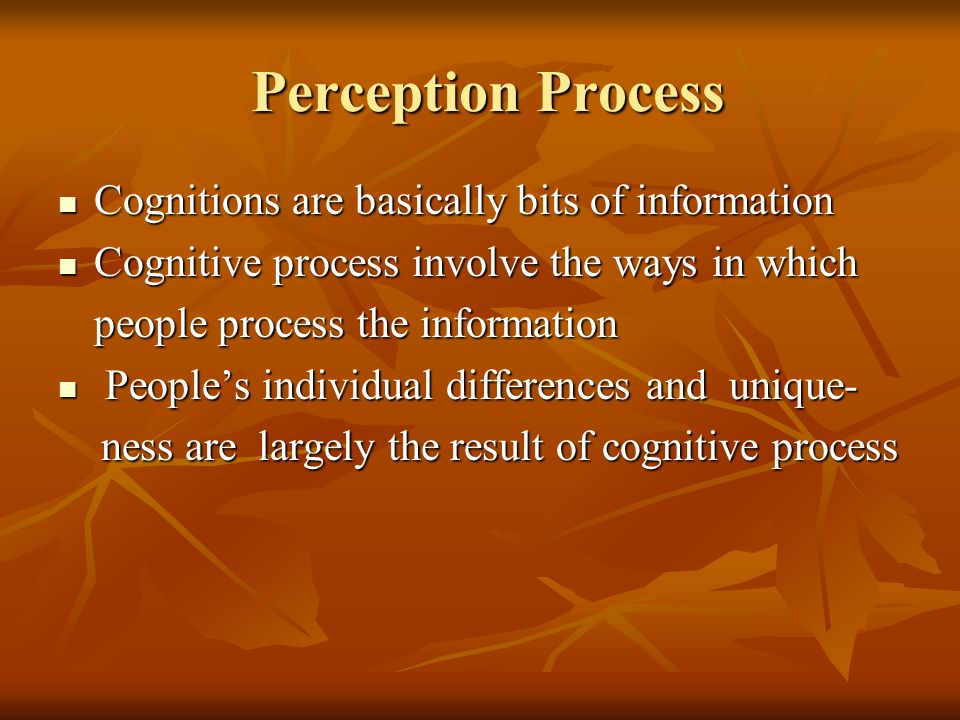 Perception Process Cognitions are basically bits of information