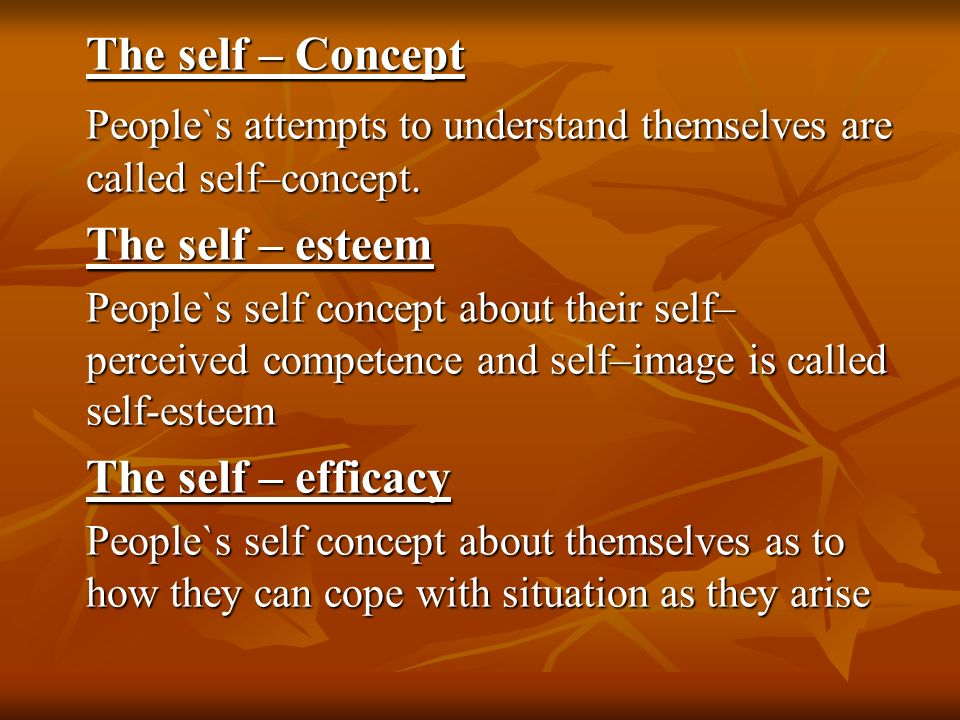 People`s attempts to understand themselves are called self–concept.