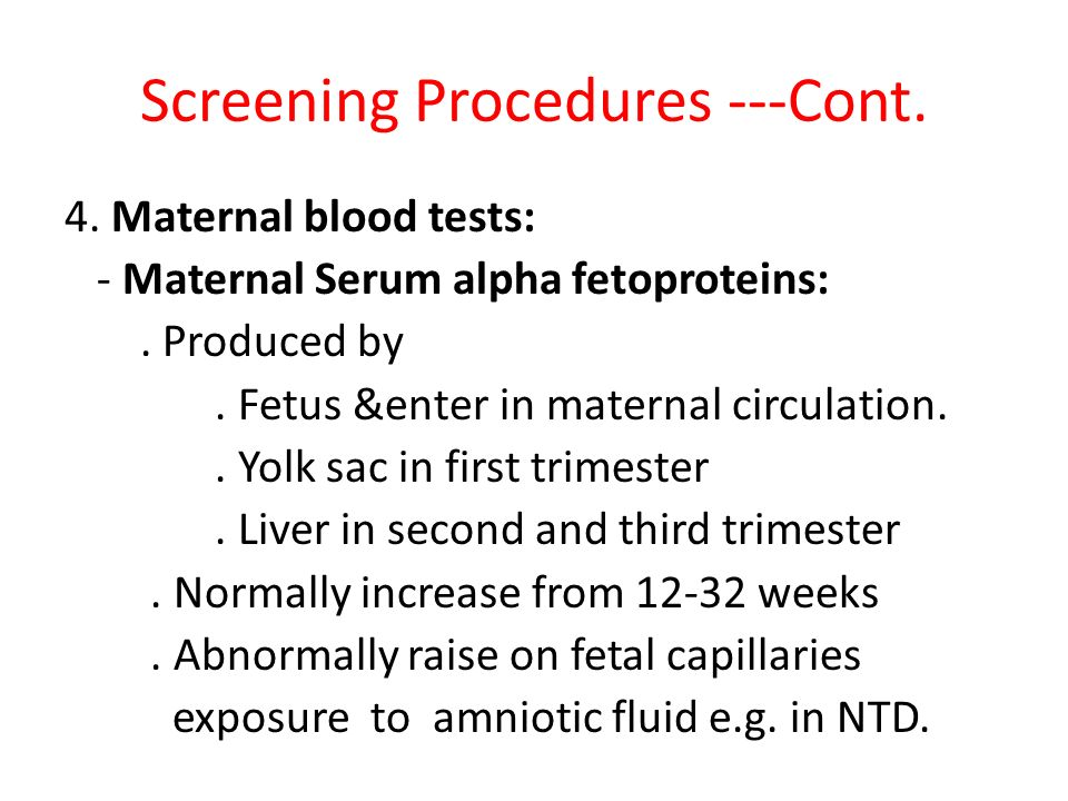 Screening Procedures ---Cont.