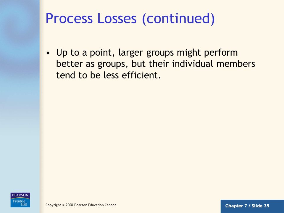 Process Losses (continued)