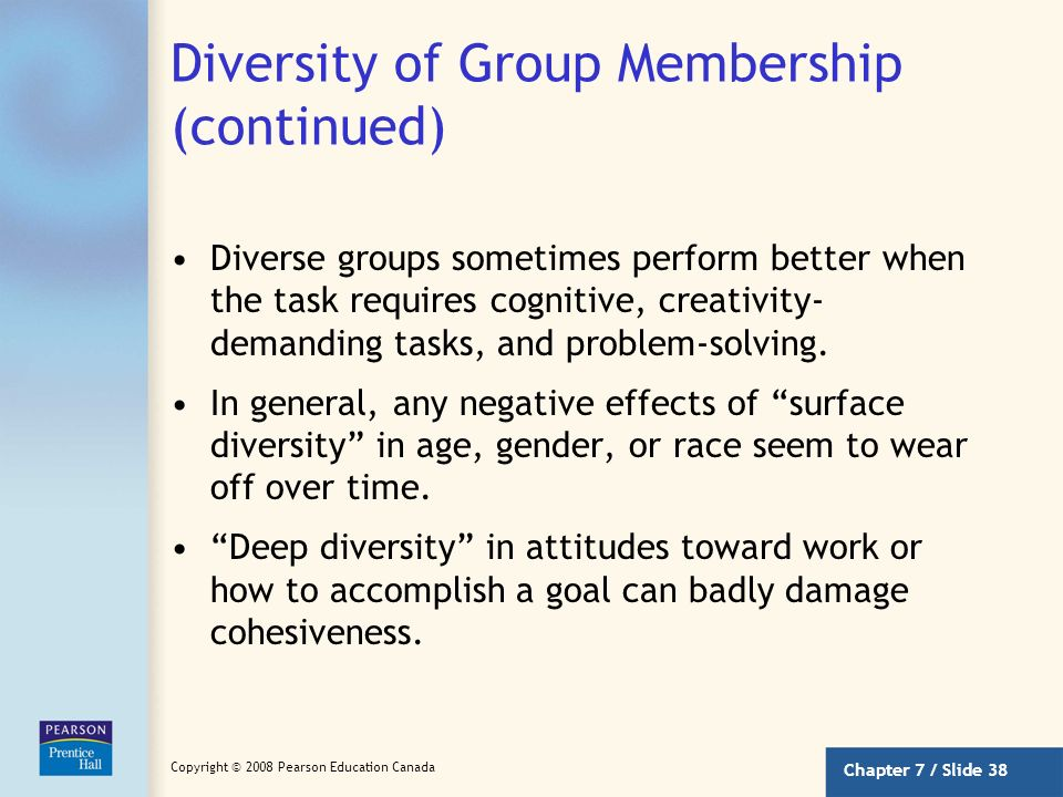Diversity of Group Membership (continued)