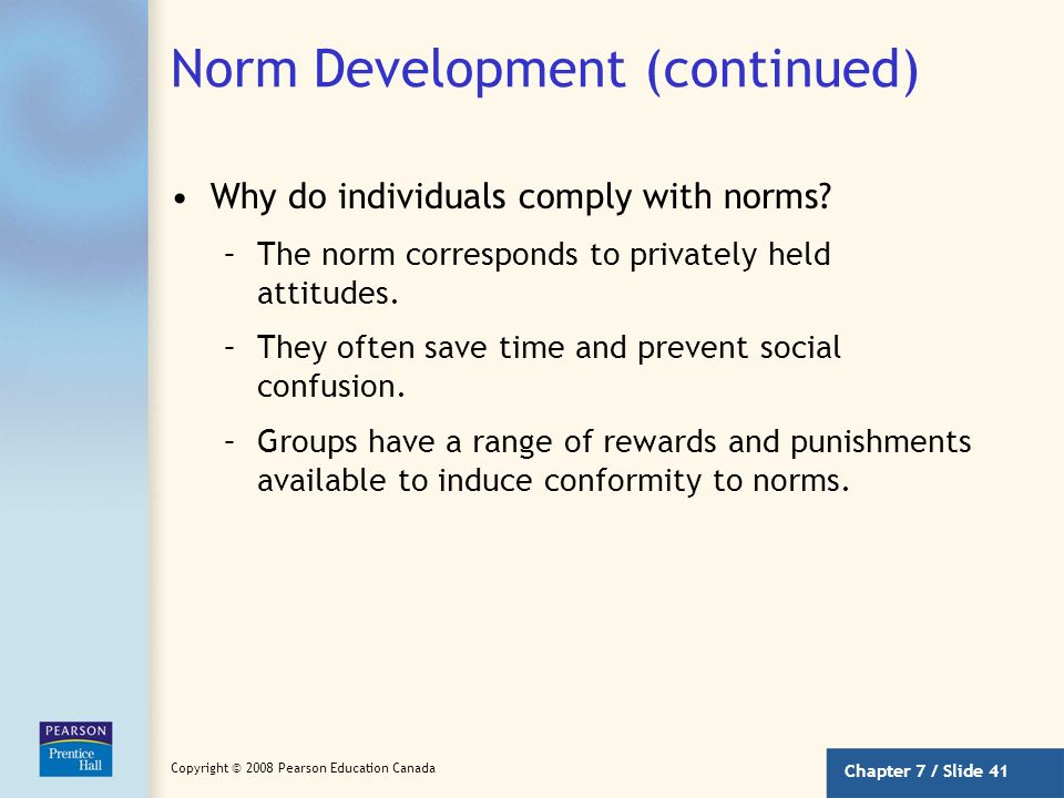 Norm Development (continued)