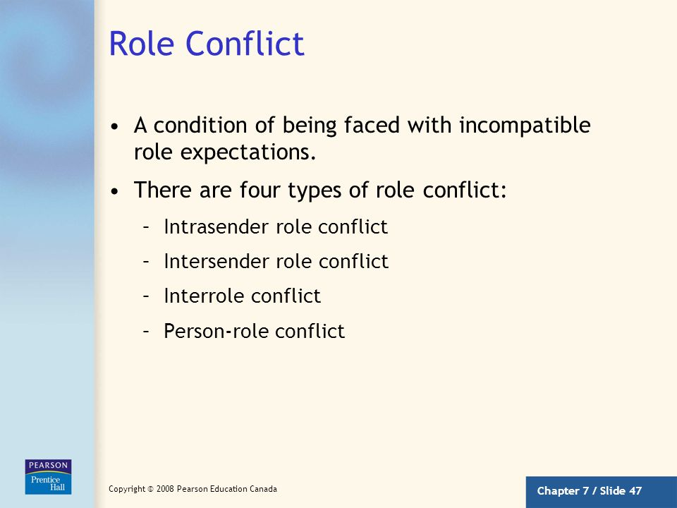 Role Conflict A condition of being faced with incompatible role expectations. There are four types of role conflict: