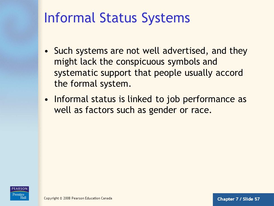 Informal Status Systems