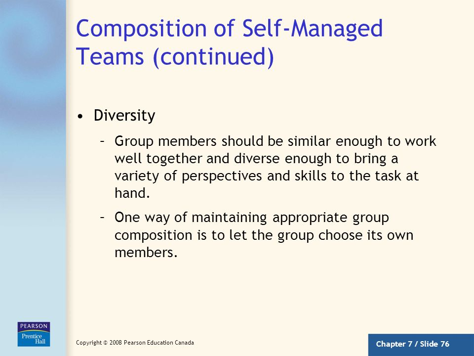Composition of Self-Managed Teams (continued)