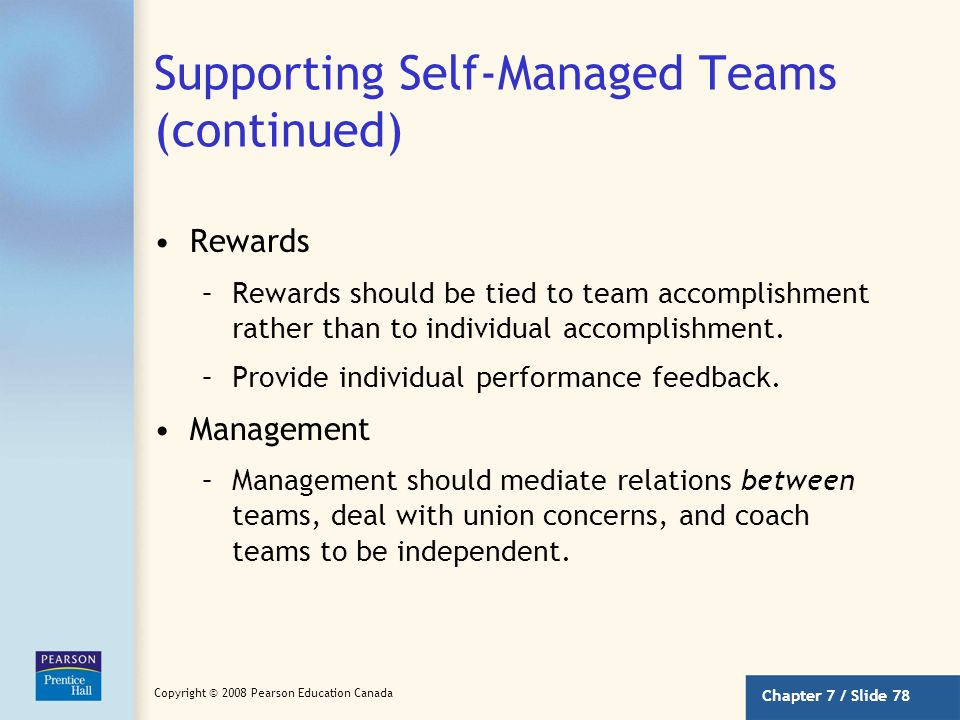 Supporting Self-Managed Teams (continued)