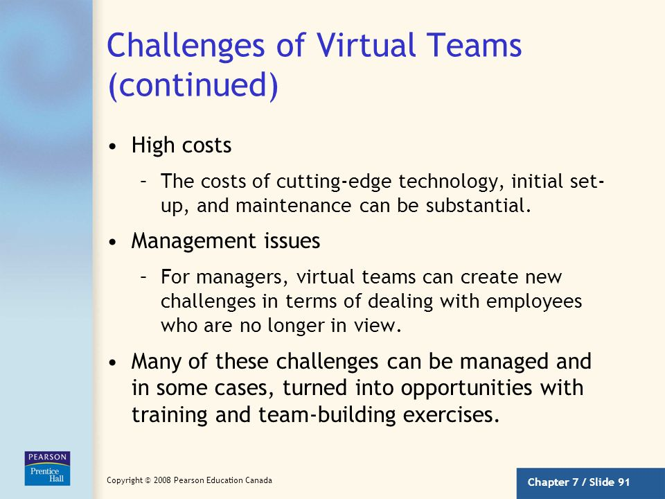Challenges of Virtual Teams (continued)