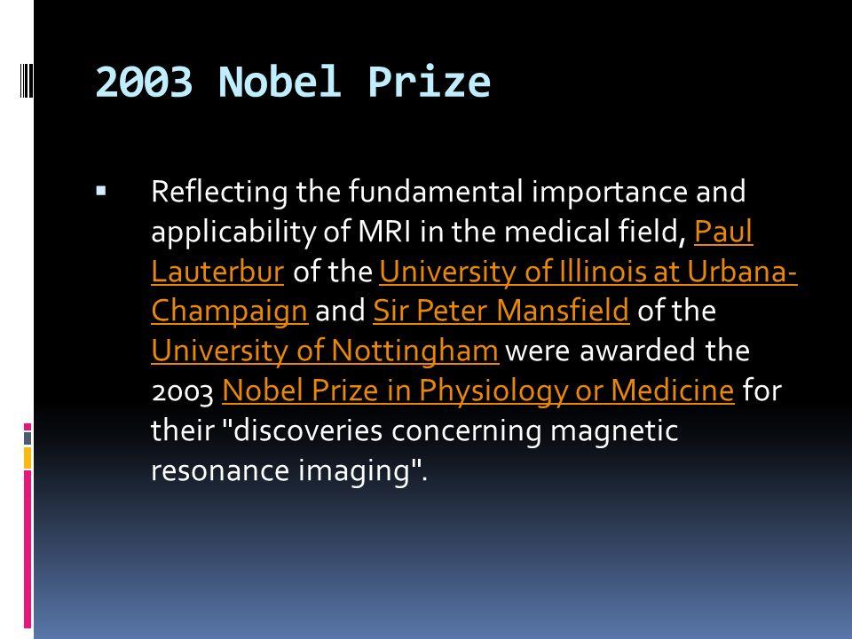 2003 Nobel Prize