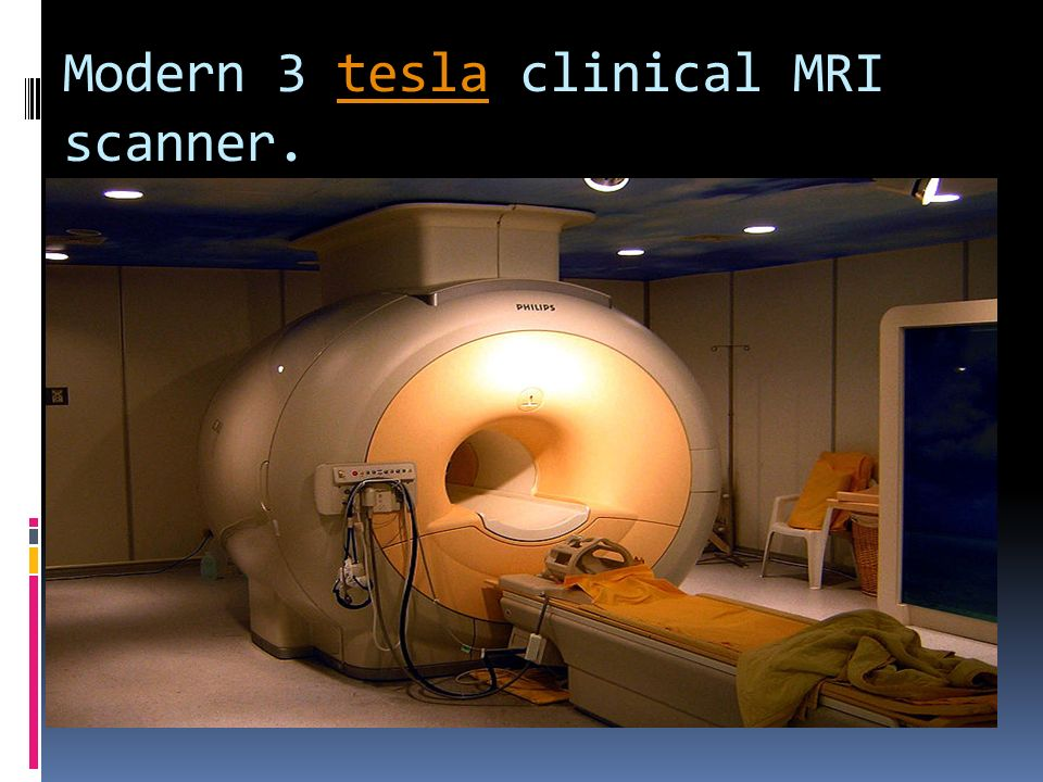 Modern 3 tesla clinical MRI scanner.
