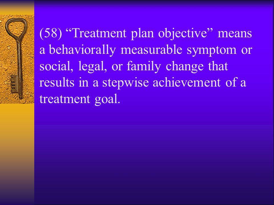 (58) Treatment plan objective means a behaviorally measurable symptom or social, legal, or family change that results in a stepwise achievement of a treatment goal.
