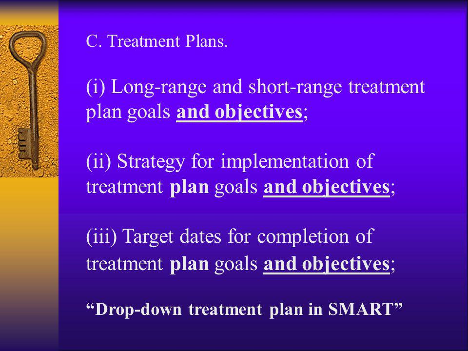 (i) Long-range and short-range treatment plan goals and objectives;