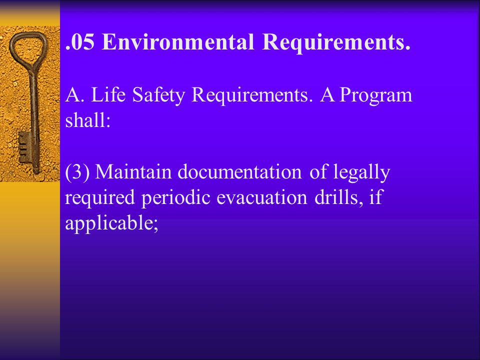 .05 Environmental Requirements.