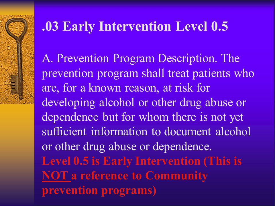 .03 Early Intervention Level 0.5