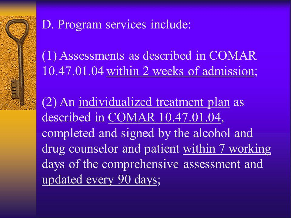 D. Program services include: