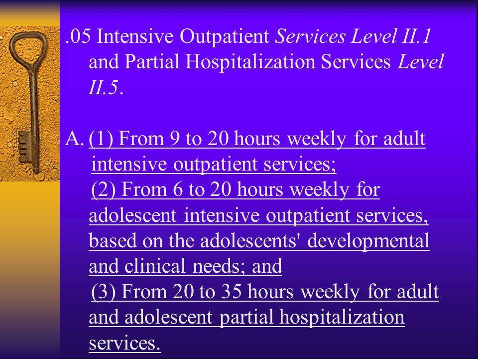 05 Intensive Outpatient Services Level II