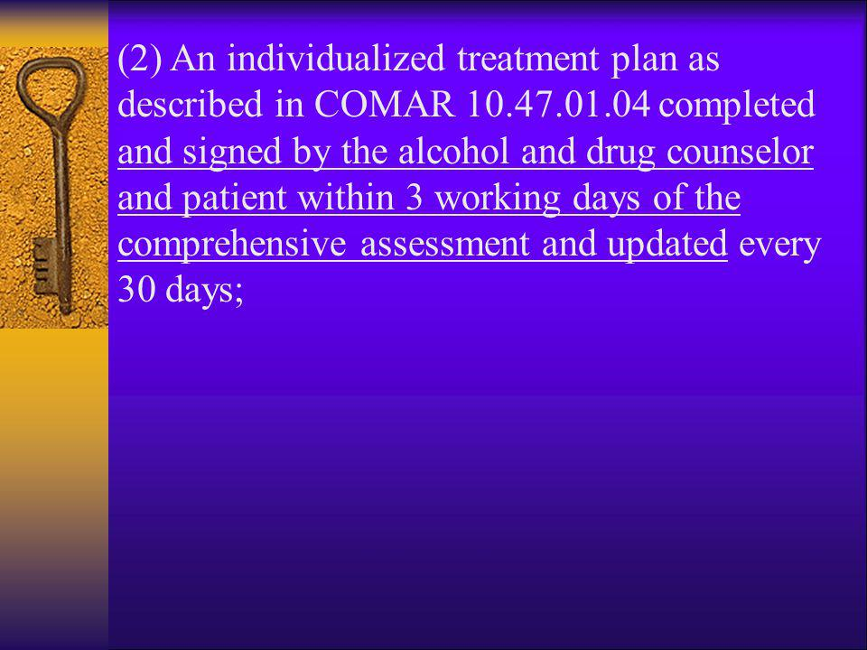 (2) An individualized treatment plan as described in COMAR 10. 47. 01