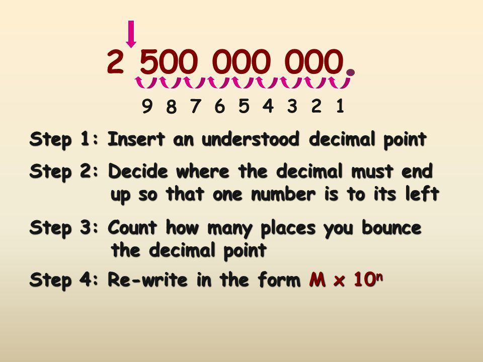 . 2 500 000 000. 9. 8. 7. 6. 5. 4. 3. 2. 1. Step 1: Insert an understood decimal point. Step 2: Decide where the decimal must end.