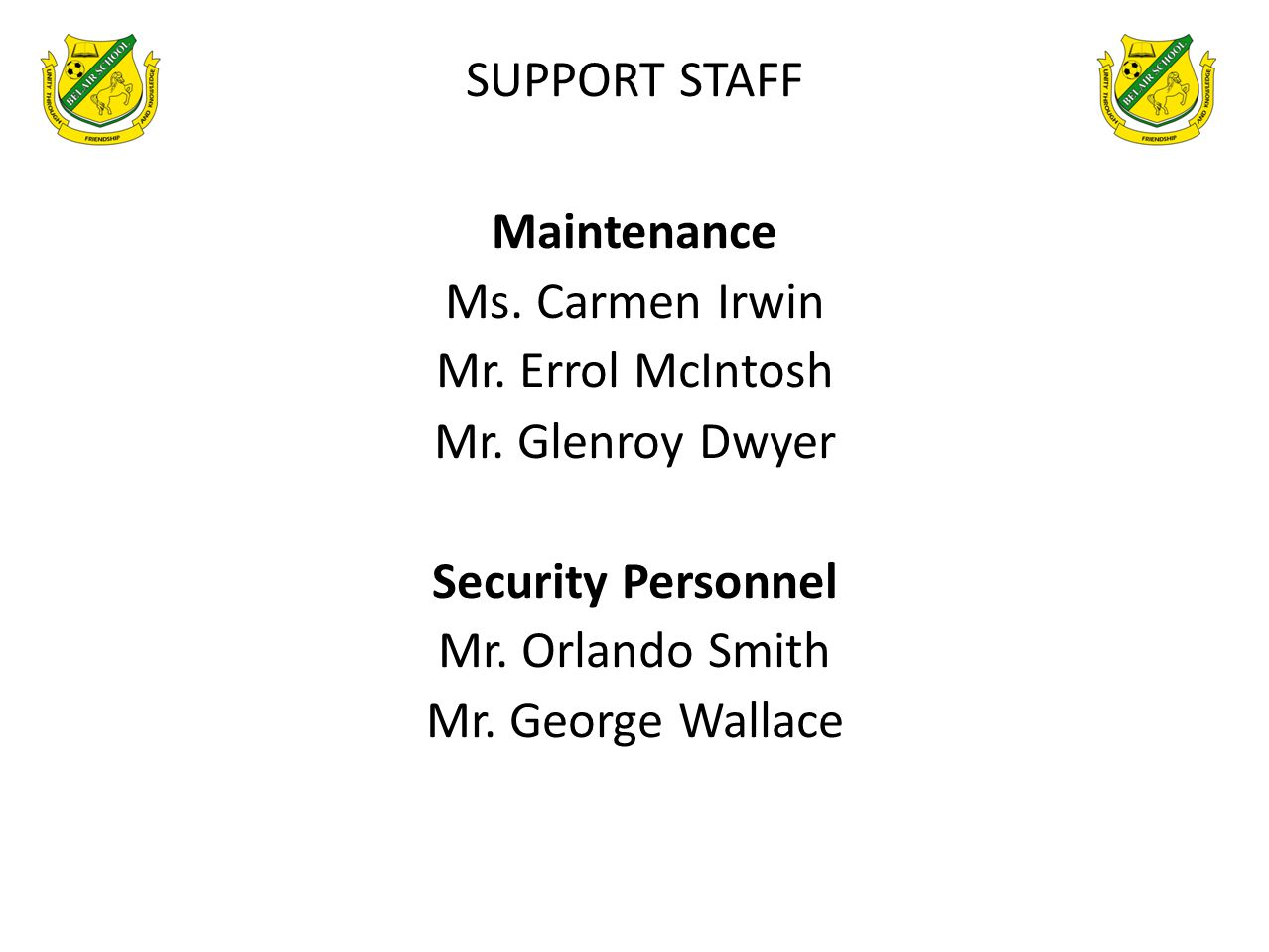 SUPPORT STAFF Maintenance. Ms. Carmen Irwin. Mr. Errol McIntosh. Mr. Glenroy Dwyer. Security Personnel.