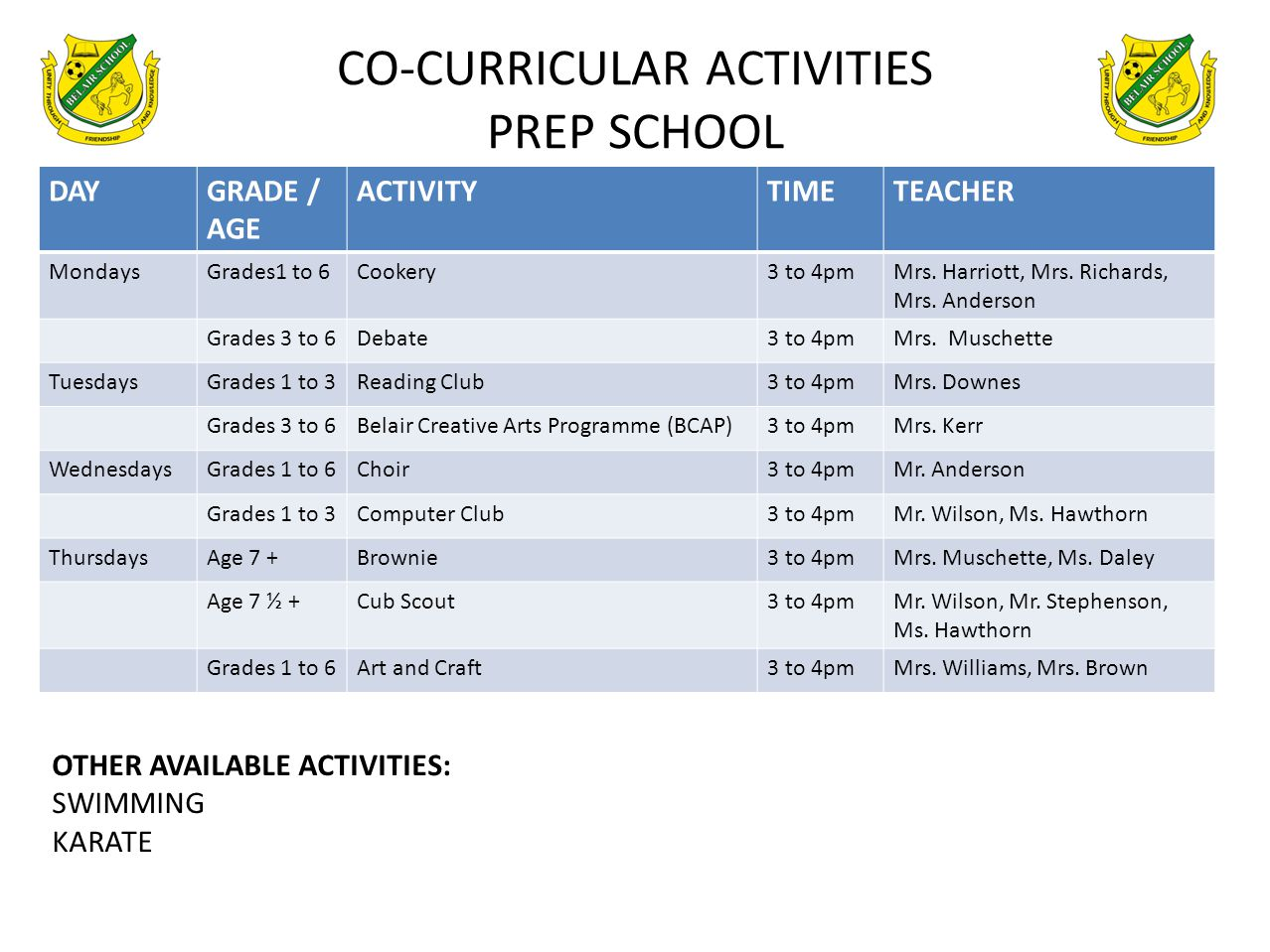 CO-CURRICULAR ACTIVITIES PREP SCHOOL