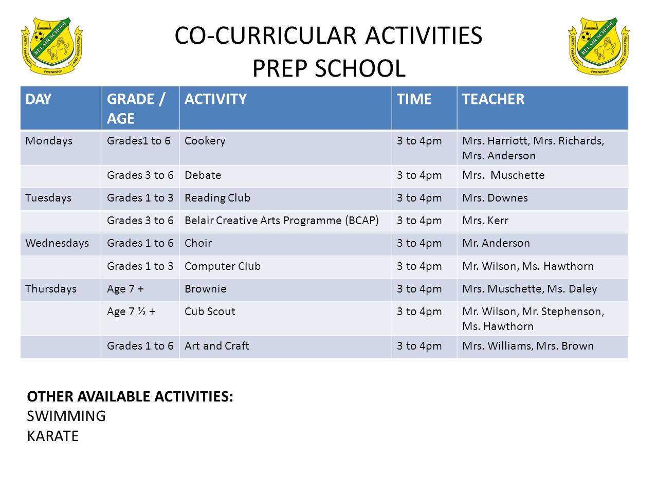 CO-CURRICULAR ACTIVITIES PREP SCHOOL