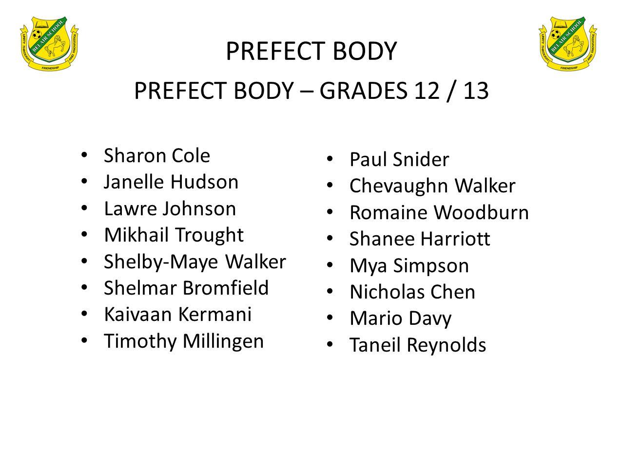 PREFECT BODY PREFECT BODY – GRADES 12 / 13 Sharon Cole Paul Snider