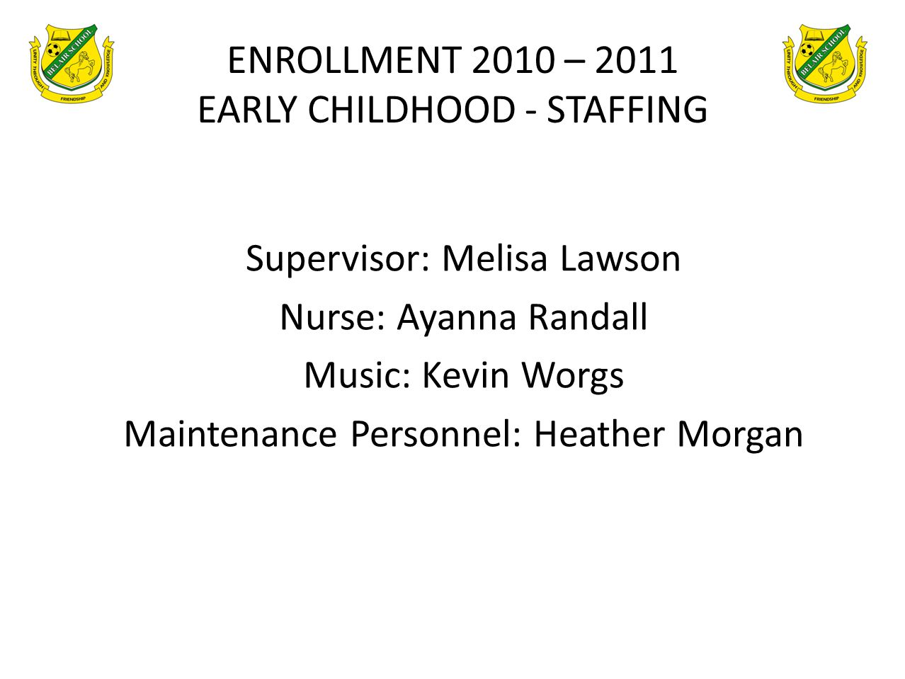 ENROLLMENT 2010 – 2011 EARLY CHILDHOOD - STAFFING