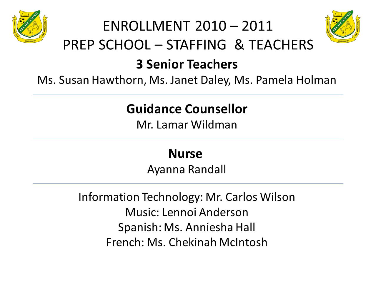 ENROLLMENT 2010 – 2011 PREP SCHOOL – STAFFING & TEACHERS