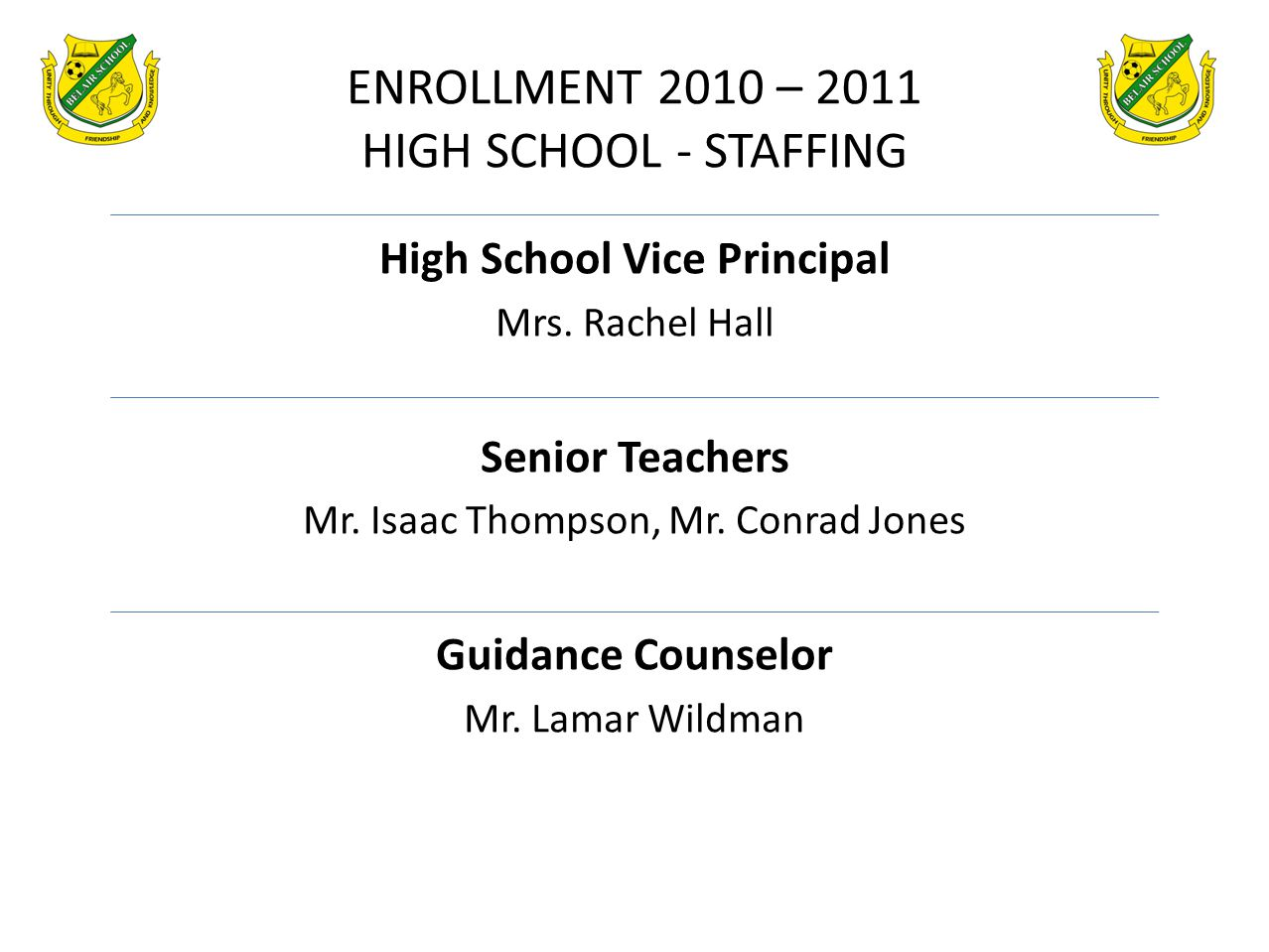 ENROLLMENT 2010 – 2011 HIGH SCHOOL - STAFFING