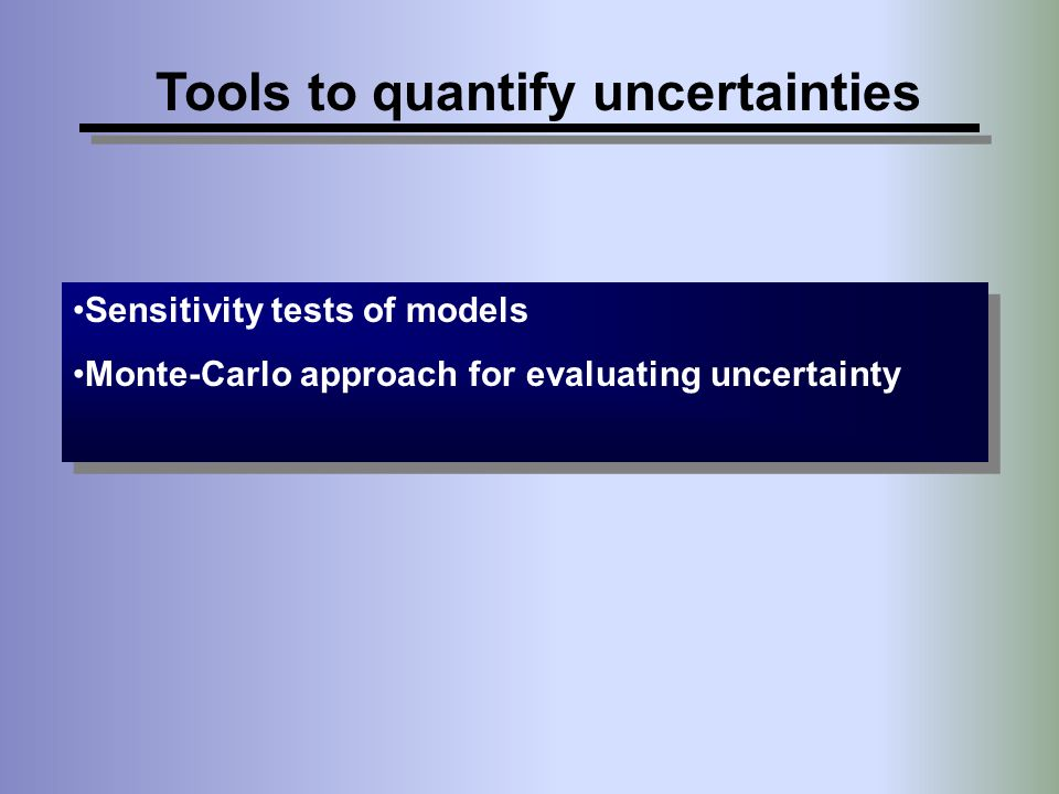 Tools to quantify uncertainties