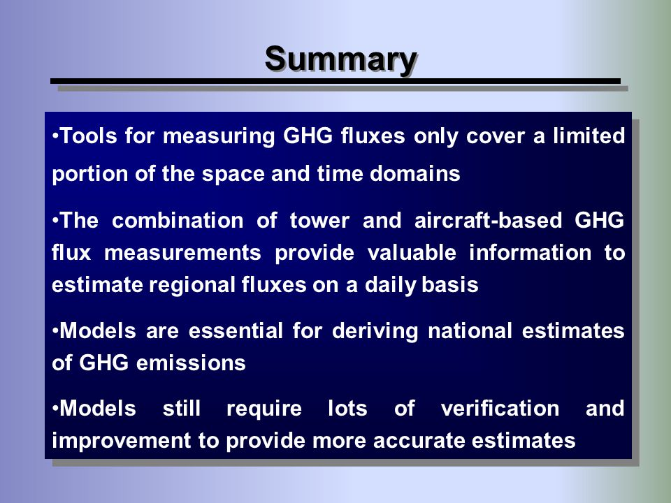 Summary Tools for measuring GHG fluxes only cover a limited portion of the space and time domains.