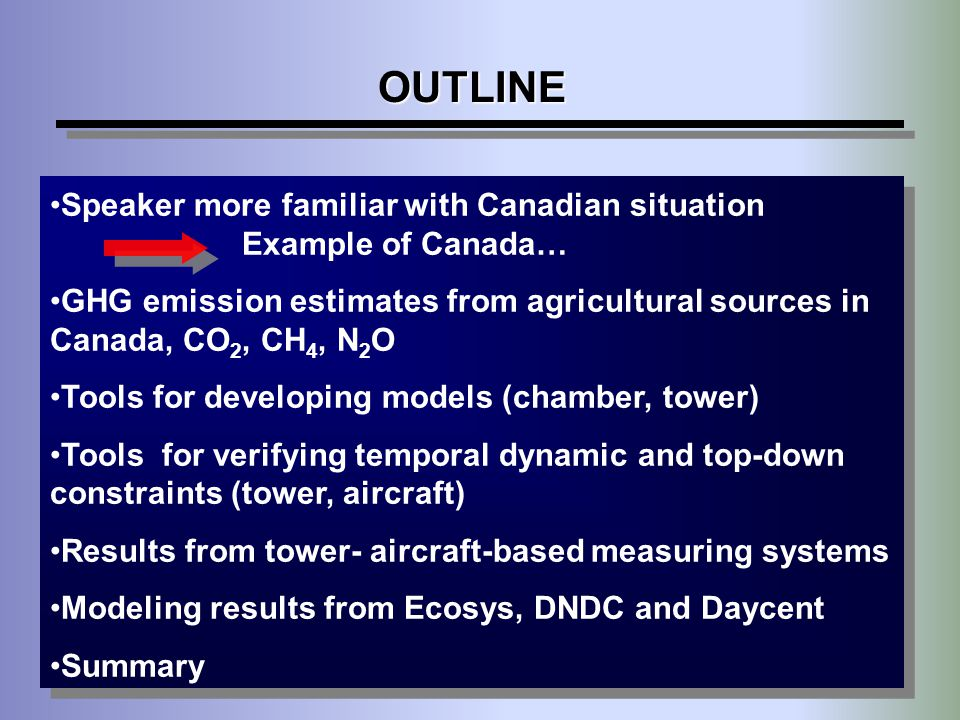 OUTLINE Speaker more familiar with Canadian situation Example of Canada…