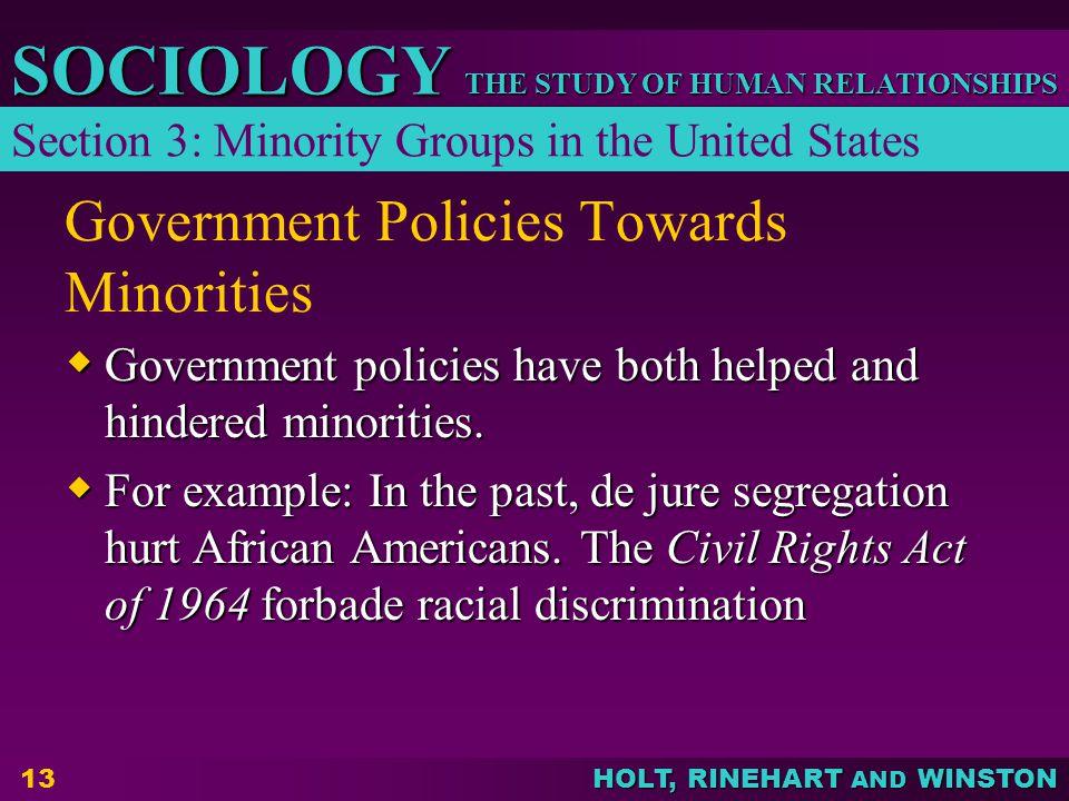 Government Policies Towards Minorities