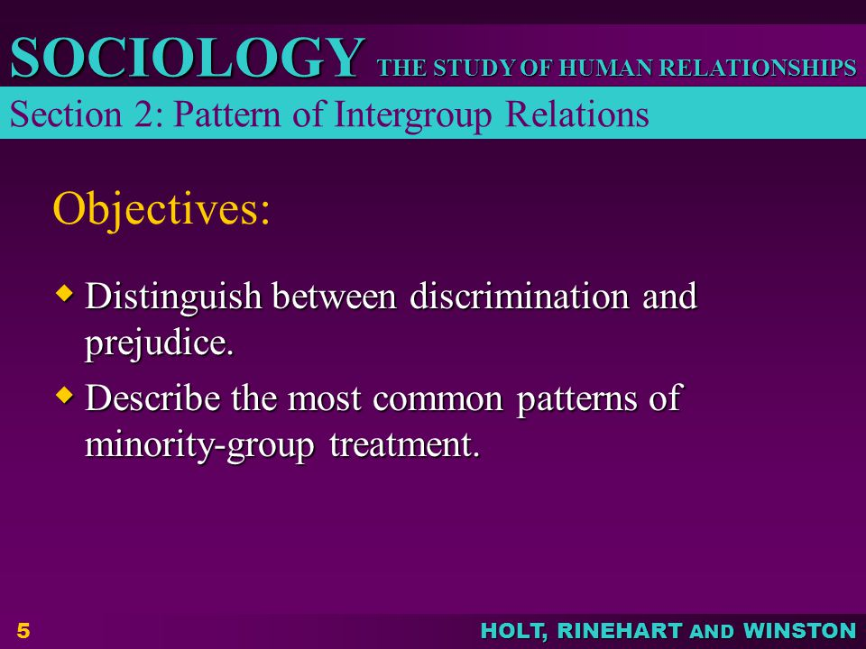 Objectives: Section 2: Pattern of Intergroup Relations