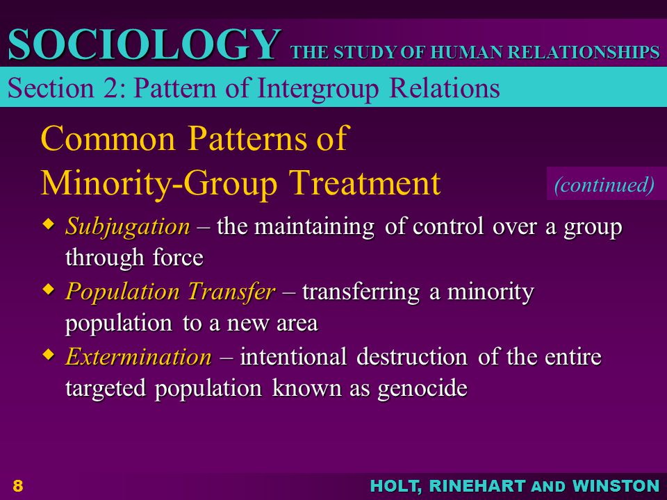 Common Patterns of Minority-Group Treatment