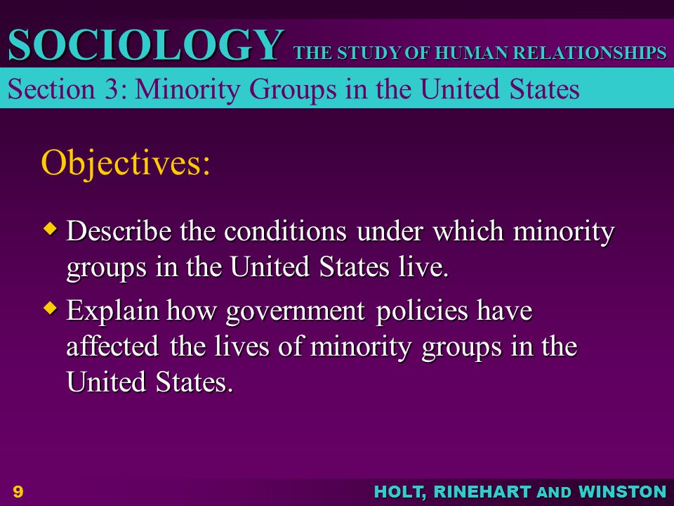 Objectives: Section 3: Minority Groups in the United States