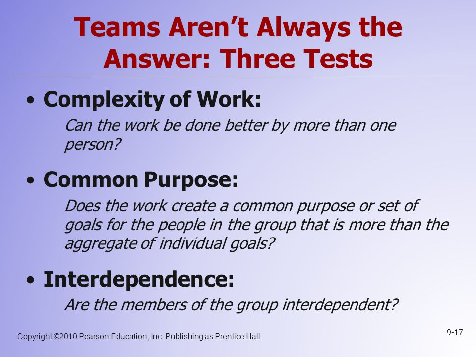 Teams Aren't Always the Answer: Three Tests