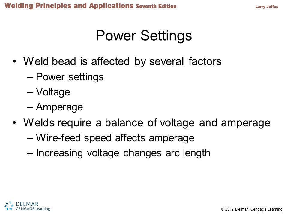 Power Settings Weld bead is affected by several factors