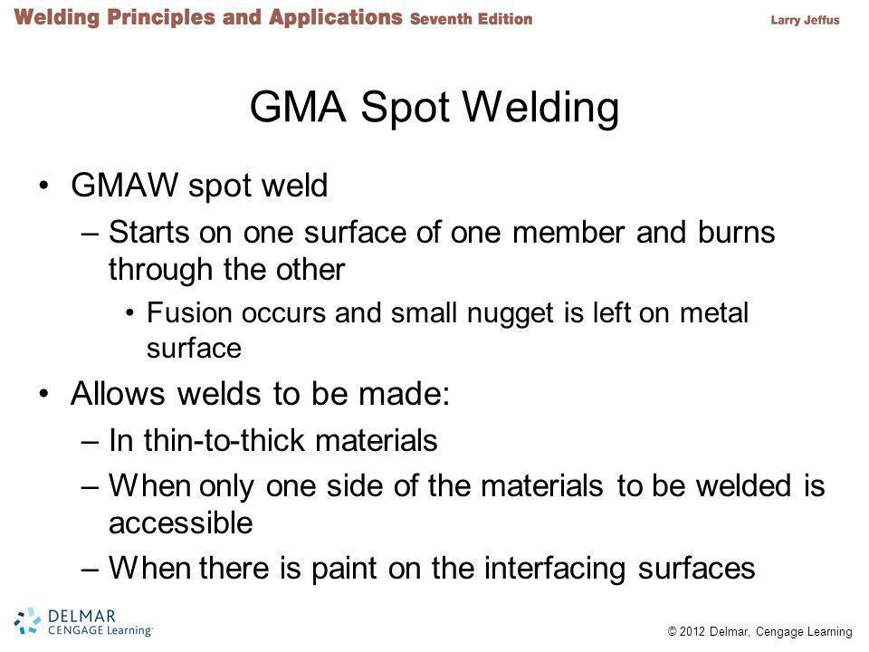 GMA Spot Welding GMAW spot weld Allows welds to be made: